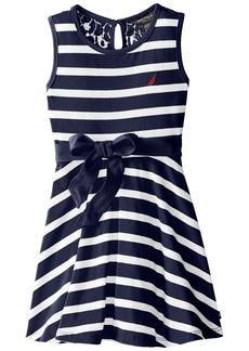 Nautica Little Girls' Jersey Stripe Tank Dress with Lace Back Yoke EL Navy