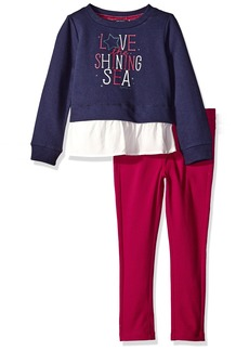 Nautica Little Girls' Toddler Knit Top and Double Knit Pant Set Navy