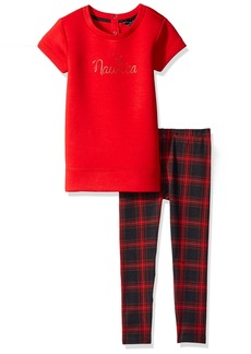Nautica Little Girls' Toddler Knit Top and Plaid Legging Set