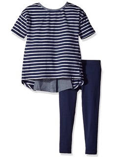 Nautica Little Girls Knit Top with Chambray Details and Legging Set