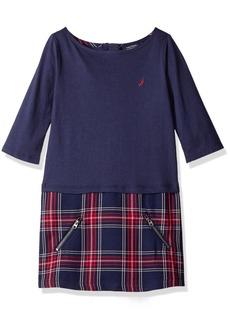 Nautica Little Girls Layered Knit Dress with Double Knit Plaid Skirt