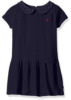 Nautica Little Girls' Toddler Mixed Stitch Sweater Dress with Woven Polka dot Collar