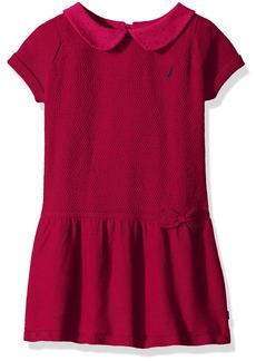 Nautica Little Girls' Toddler Mixed Stitch Sweater Dress with Woven Polka dot Collar