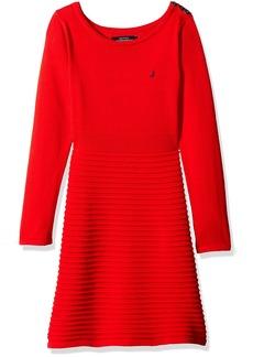 Nautica Little Girls Ottoman Stripe Sweater Dress with Shoulder Placket