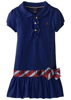Nautica Little Girls' Pique Polo Dress with Gold Buttons Medium Navy