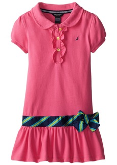 Nautica Little Girls' Pique Polo Dress with Gold Buttons Pink