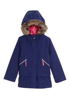 Nautica Little Girls Poly Blend Coat With Faux Fur medium navy