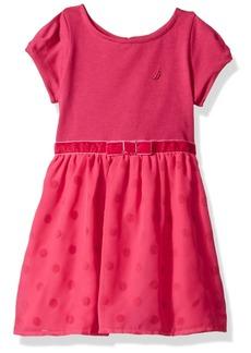 Nautica Little Girls' Ponte Top with Flocked Dot Taffeta Dress