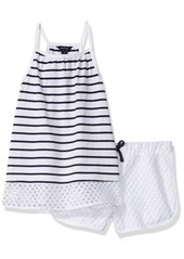 Nautica Little Girls' Racerback Knit Top with Fashion Athletic Short Set