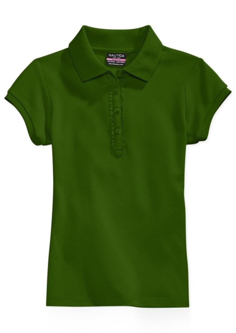 Nautica Little Girls Ruffle-Trim Polo Shirt