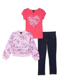 Nautica Little Girls' Satin Bomber Jacket Knit Top and Jegging