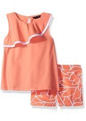 Nautica Little Girls' Sleeveless Knit Top with Leaf Print Woven Short Set  4