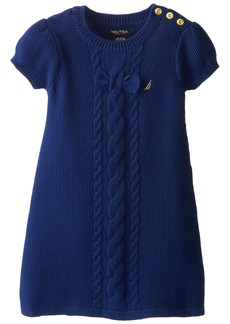Nautica Little Girls' Solid Sweater Dress with Bow and Cable Detail and Gold Button Shoulder Placket