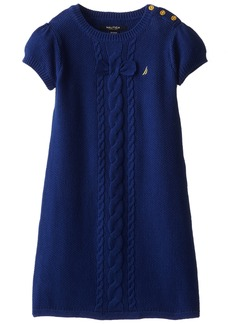 Nautica Little Girls' Solid Sweater Dress with Bow and Cable Detail and Gold Button Shoulder Placket 2