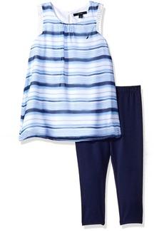 Nautica Little Girls' Stripe Chiffon Top with Capri Legging Set