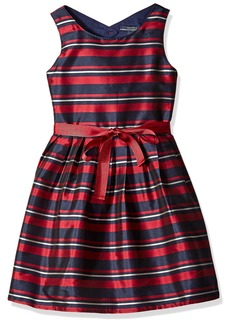 Nautica Little Girls Stripe Taffeta Dress With Grosgrain Sash