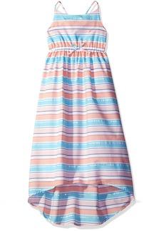 Nautica Little Girls' Stripe Woven Calf Length Dress with Hi Low Hem