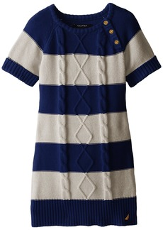 Nautica Little Girls' Striped Cable Knit Dress with Gold Buttons