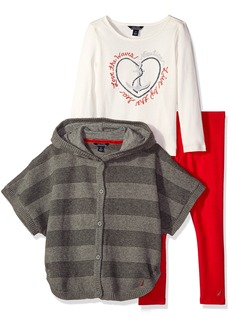 Nautica Little Girls Sweater Poncho Graphic T-Shirt and Legging Set