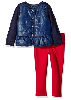 Nautica Little Girls' Toddler Sweater Sleeve Jacket and Double Knit Pant Set Navy