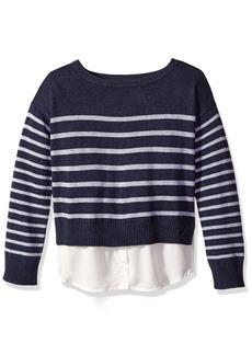 Nautica Little Girls Sweater with Light Weight Woven Hangdown