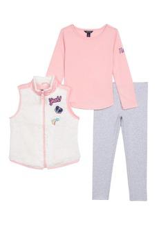 Nautica Little Girls Teddy Faux Fur Vest Knit Top & Legging cream