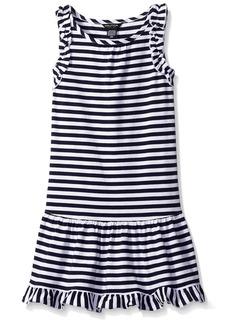 Nautica Little Girls' Toddler Drop Waist Stripe Dress with Ruffle Details