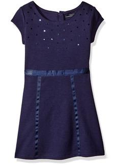 Nautica Little Girls' Toddler Knit Dress with Sequin Neckline and Grosgrain Trims Navy