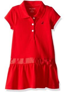 Nautica Little Girls' Toddler Pique Dress Contrast with Polka Dot Belt