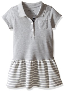 Nautica Little Girls' Toddler Pique Dress with Stripe Skirt and Tipped Collar