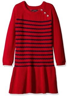 Nautica Little Girls' Toddler Raglan Sweater Dress with Rope Stripe Full Rib Skirt