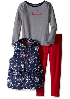 Nautica Little Girls Vest Shirt and Double Knit Pant Set Navy
