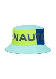 Nautica Logo Graphic to Solid Reversible Bucket Hat
