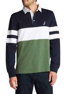 Nautica Long-Sleeve Rugby Stripe Jersey Polo