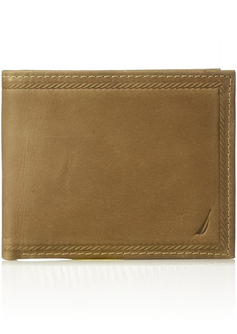 Nautica Men's 100% Leather Removeable Passcase Wallet