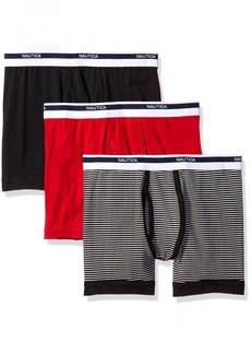 Nautica Men's 3-Pack Cotton Stretch Boxer Brief Red Stripe Black