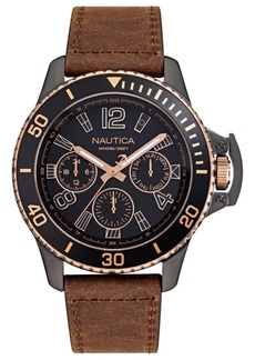 Nautica Men's Bayside Multi Colored Leather Strap Watch 45mm