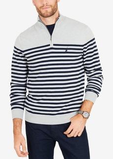 Nautica Men's Big & Tall Quarter-Zip Striped Navtech Sweater