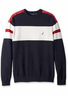 Nautica Men's Big and Tall Challenger Crewneck Stripe Sweater  2XLT