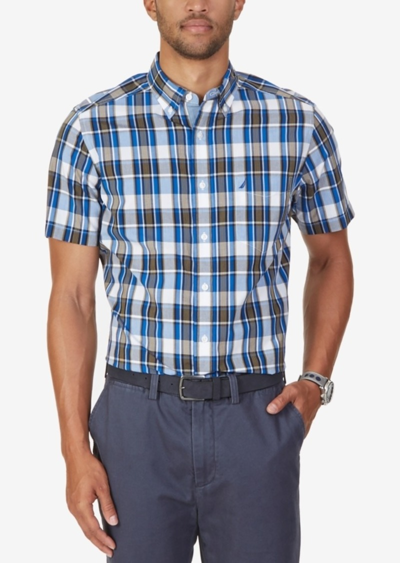 Nautica Men's Biking Plaid Short-Sleeve Shirt