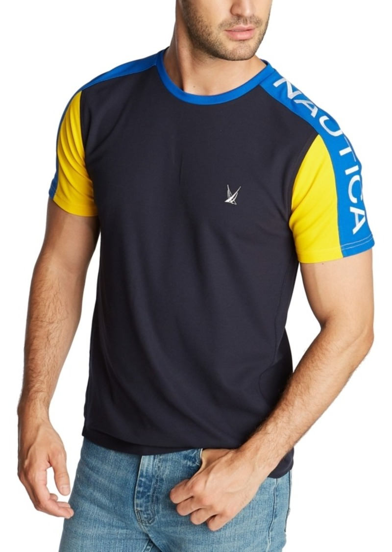 Nautica Men's Blue Sail Classic-Fit Colorblock Logo Pique T-Shirt, Created for Macy's