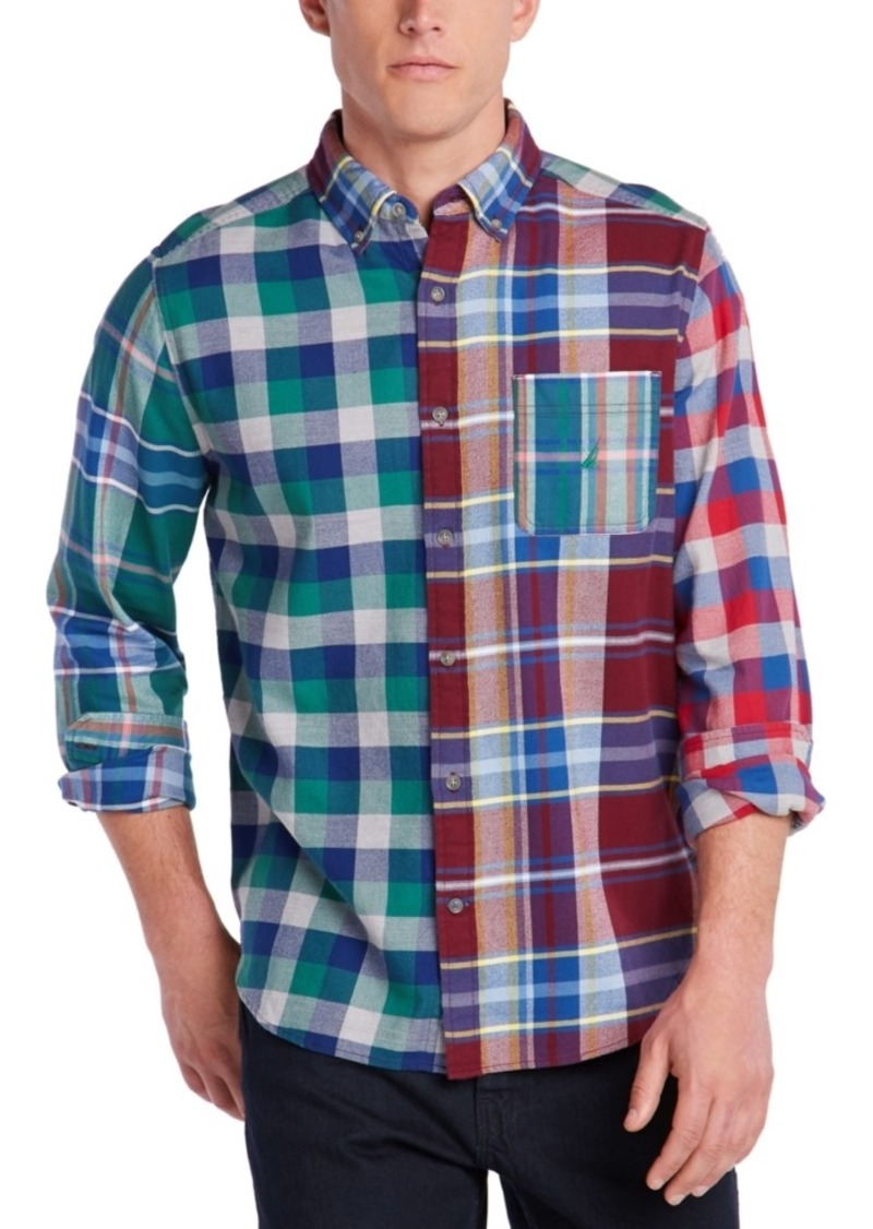Nautica Men's Blue Sail Classic-Fit Colorblocked Plaid Flannel Shirt, Created For Macy's