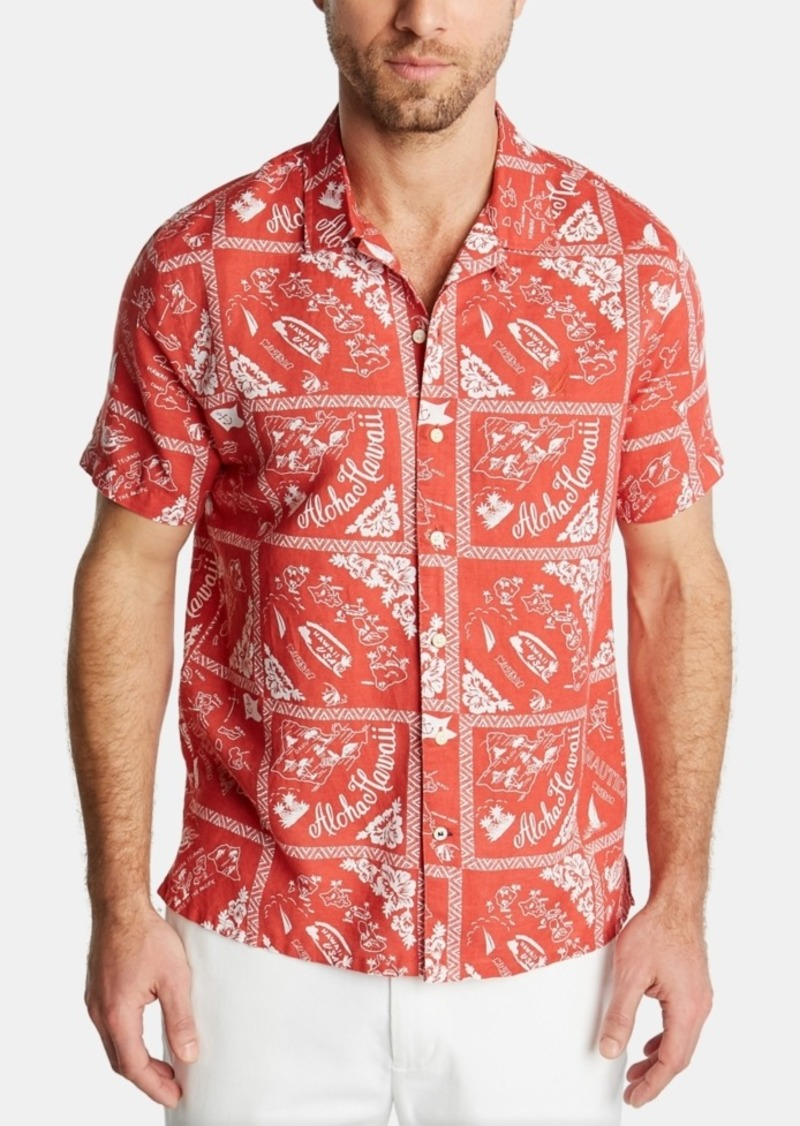 Nautica Men's Blue Sail Classic Fit Island Print Camp Collar Linen Shirt, Created for Macy's