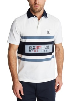 Nautica Men's Blue Sail Classic-Fit Logo Stripe Pique Polo Shirt, Created for Macy's