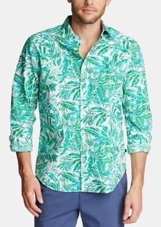 Nautica Men's Blue Sail Classic-Fit Palm-Print Poplin Shirt, Created for Macy's