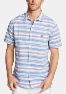 Nautica Men's Blue Sail Classic Fit Stripe Camp Collar Shirt, Created for Macy's