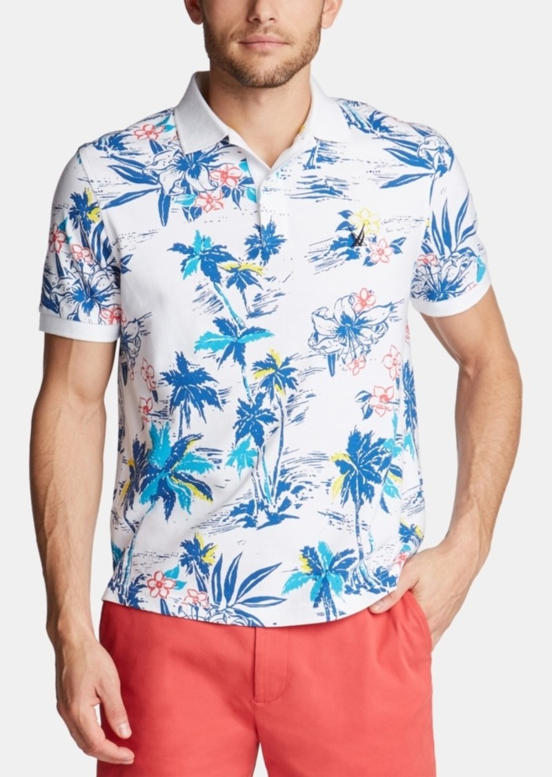 Nautica Men's Blue Sail Classic-Fit Tropical-Print Polo, Created for Macy's