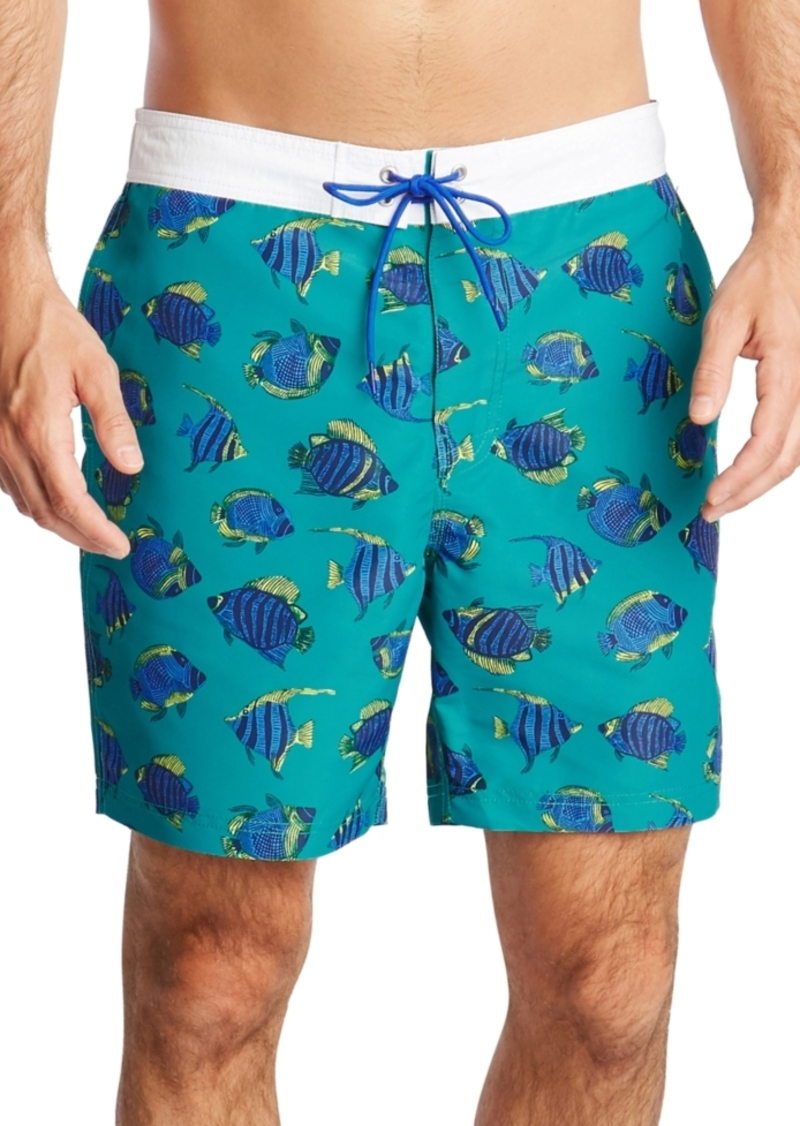 "Nautica Men's Blue Sail Fish Print 8"" Swim Trunks, Created for Macy's"