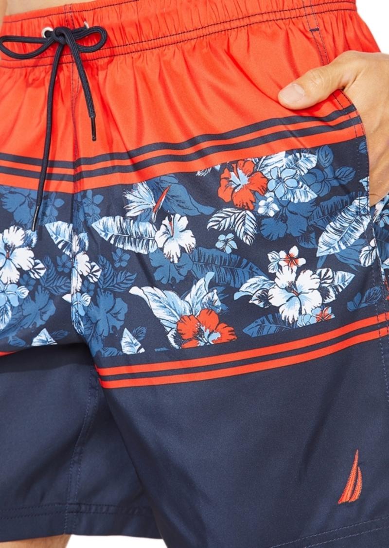 "Nautica Men's Blue Sail Floral Stripe 8"" Swim Trunks, Created For Macy's"