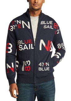 Nautica Men's Blue Sail Full-Zip Jacquard Sweater, Created For Macy's